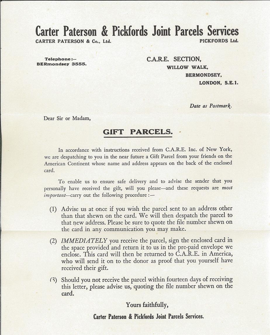 A letter explaining the delivery of CARE Package gift parcels.