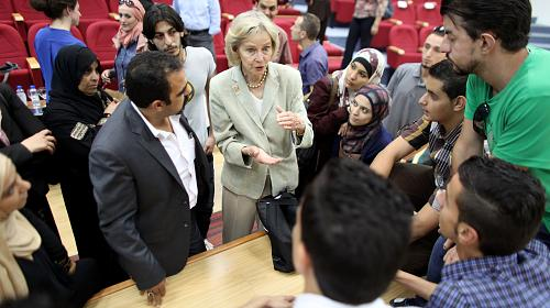 Rep. Lois Capps (D-Calif.) meets with young Jordanian men and women