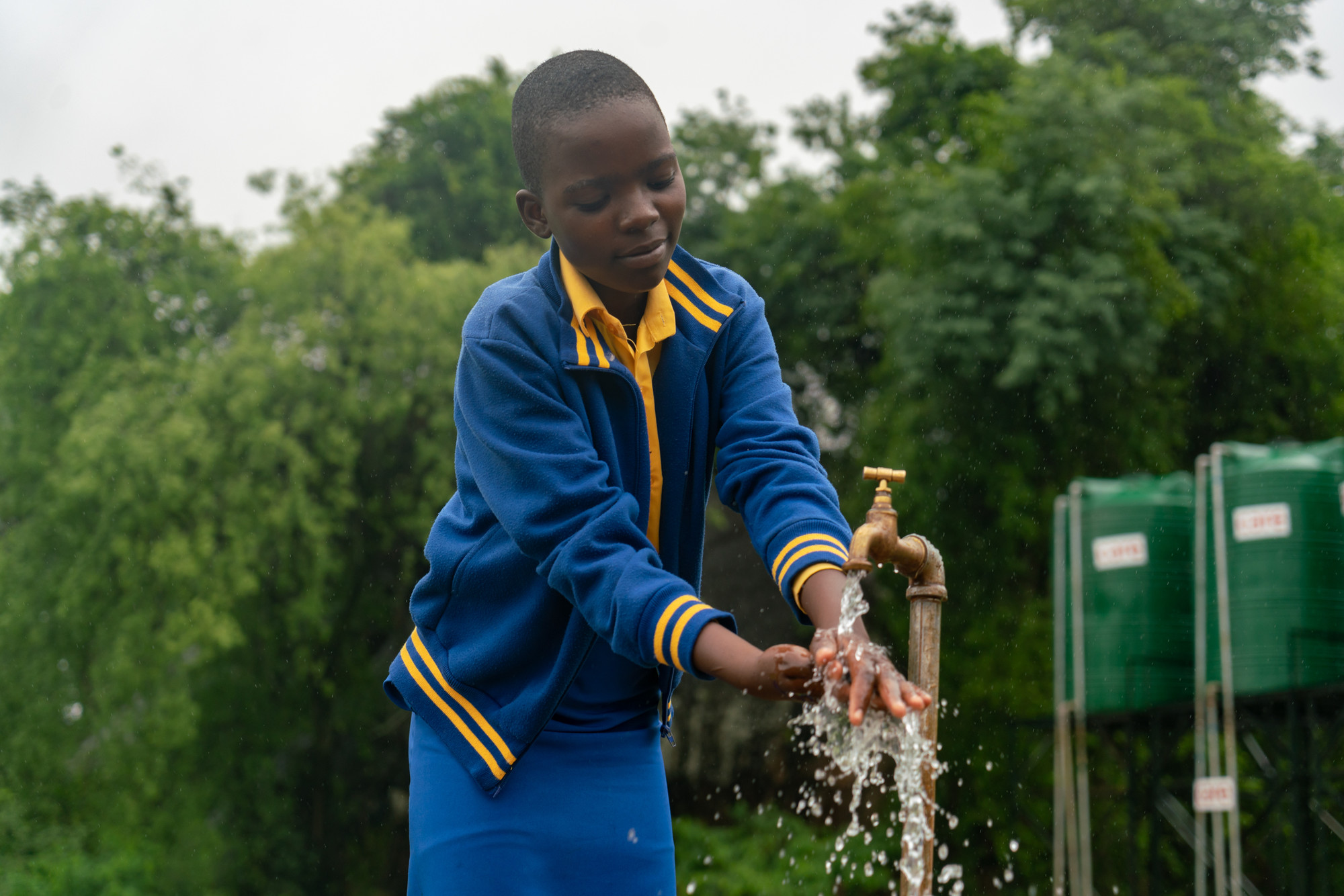 A hand-washing station at a school in Zimbabwe. Photo: © Lucy Beck/CARE