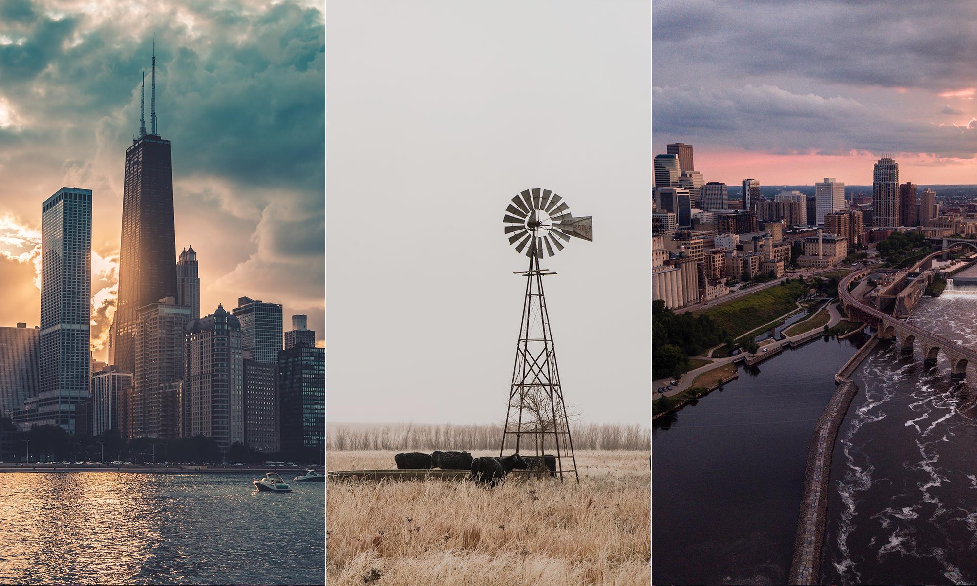 Chicago skyline, a field in Kansas, Minneapolis skyline