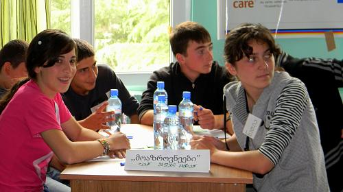 Through CARE's program, youth from conflict-affected areas such as the South Caucasus region in Eastern Europe meet together to build peace and understanding. Credit: CARE