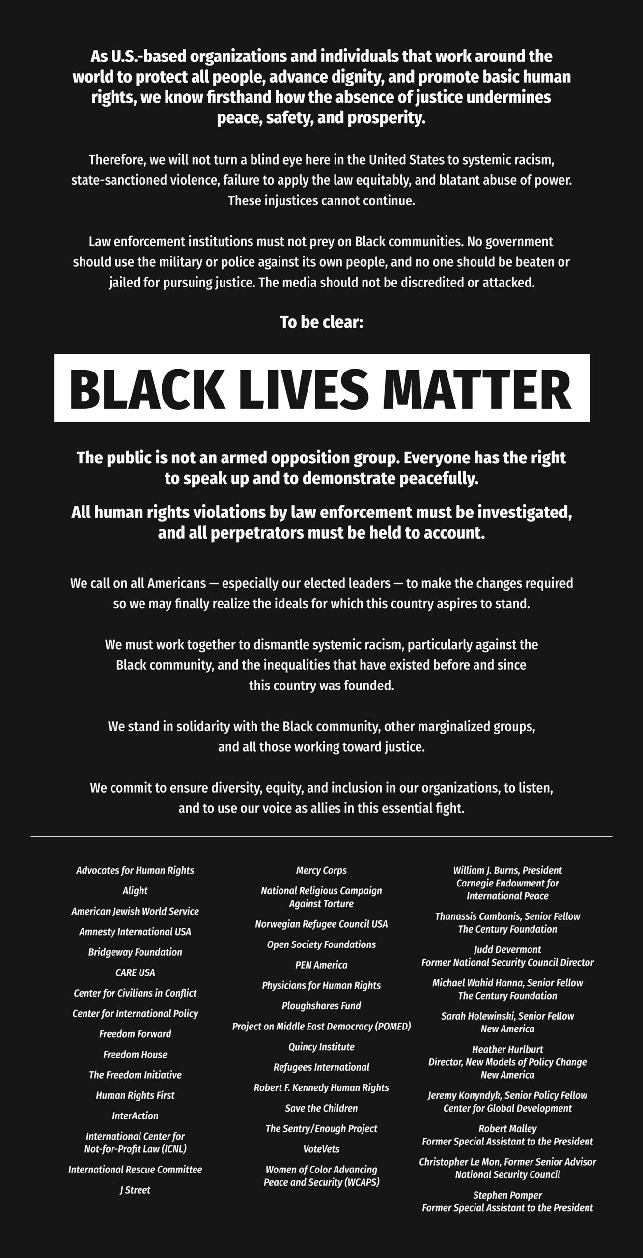 CARE and other organizations published a statement supporting Black Lives Matter in the June 15 issue of the Minneapolis Star Tribune.