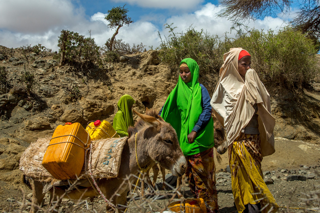Two girls walk with a donkey to gather water from a shallow well outside of their town. The donkey has two yellow water jugs tied to its side with rope.