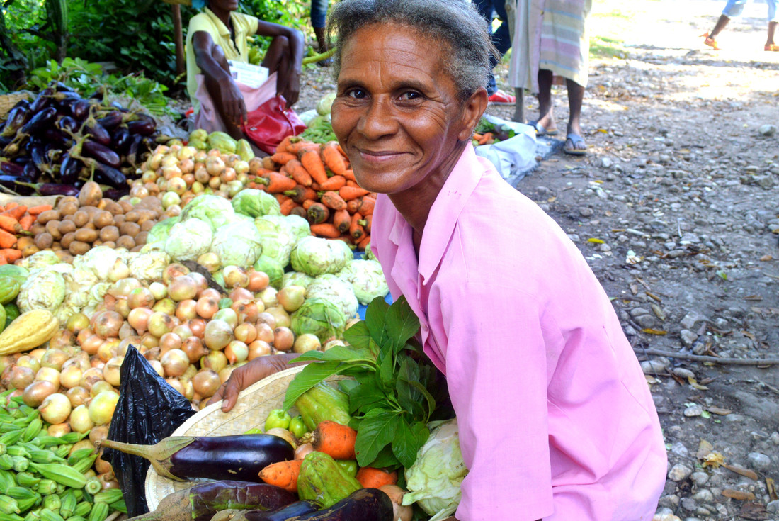 A woman wearing light pink kneels down with a basket of fresh vegetables. Behind her are large groups of eggplants, potatoes, and more vegetables.