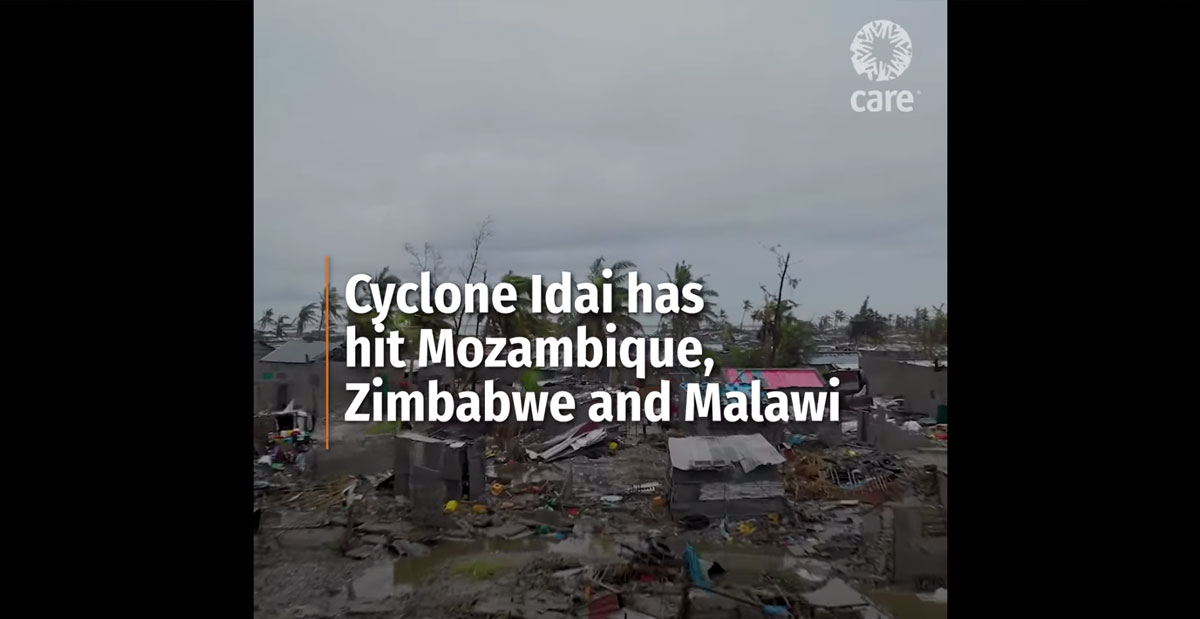 A thumbnail of a video on Cyclone Idai's impact. The image shows damaged building with the following text overlaid: