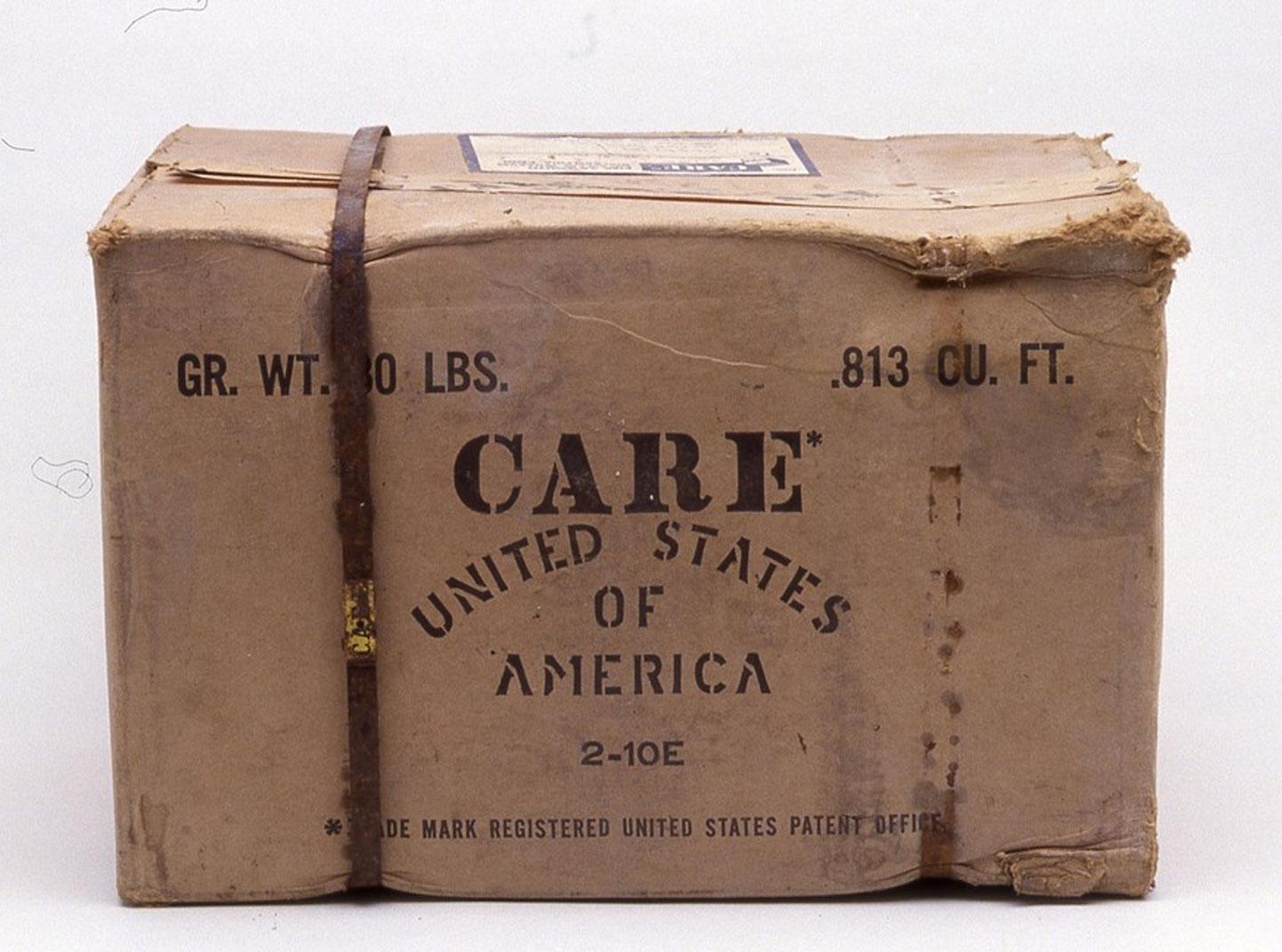 A cardboard box stamped,
