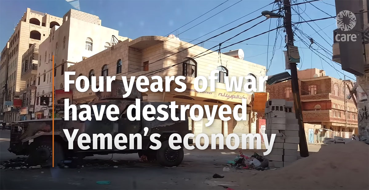 A thumbnail of a video on Yemen. The image shows a building in Yemen overlayed with the following text: