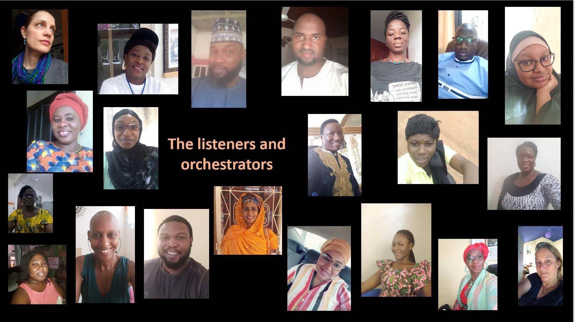 Uma colagem das fotos de 21 pessoas que contribuíram para a série de entrevistas na África Ocidental apresentada nesta página.