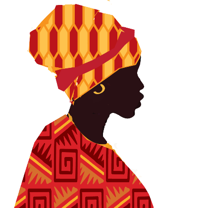A graphic of a Ghanian woman in profile wearing a traditional stripped head wrap.