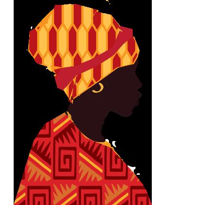 Um gráfico de uma mulher ganiana de perfil, vestindo um lenço tradicional despojado.