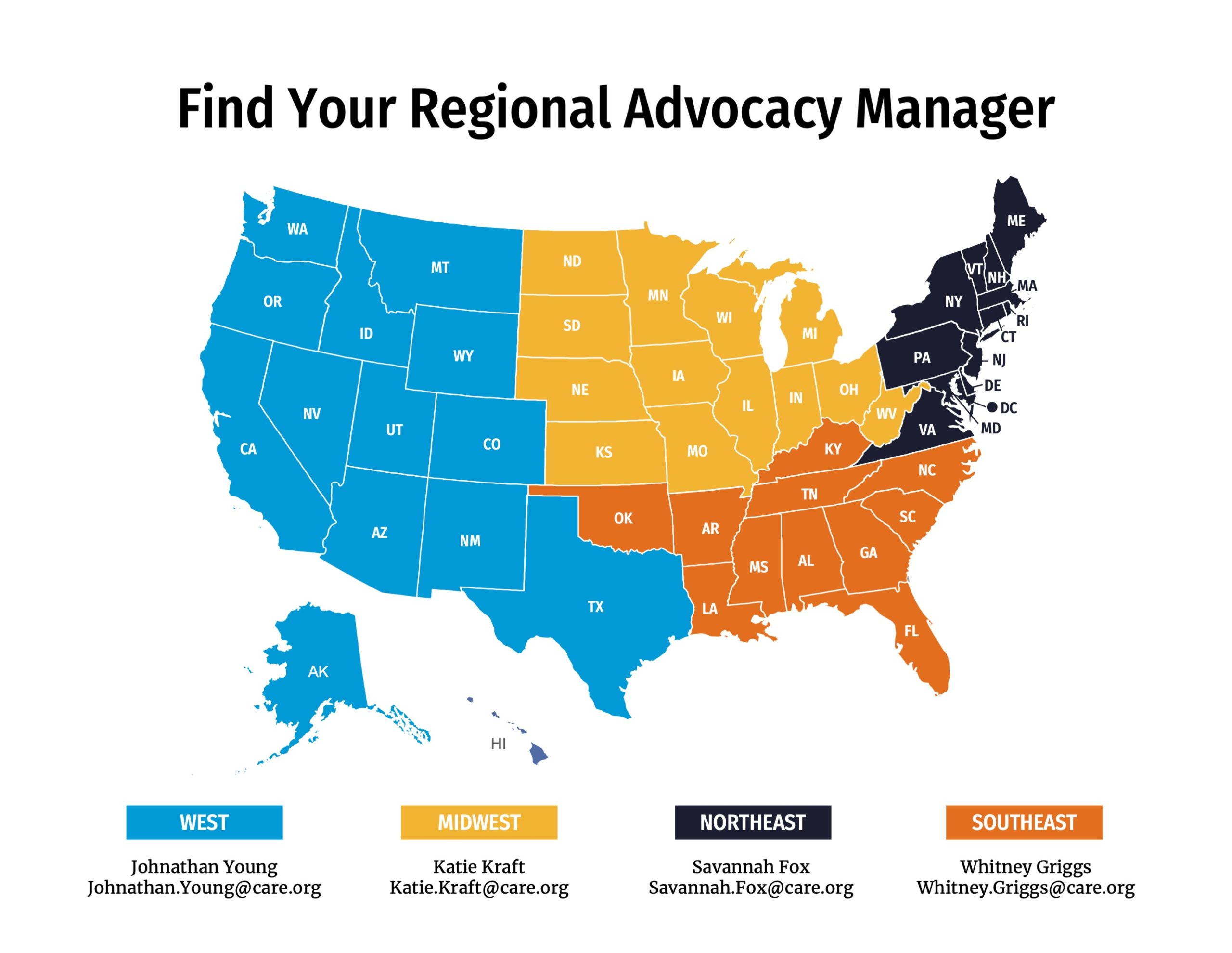 A map of the US showing CARE Action's regional advocacy managers.