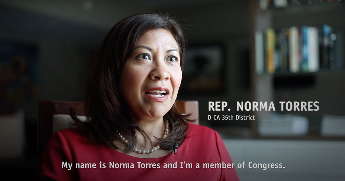 A thumbnail of Rep. Norma Torres in an interview.