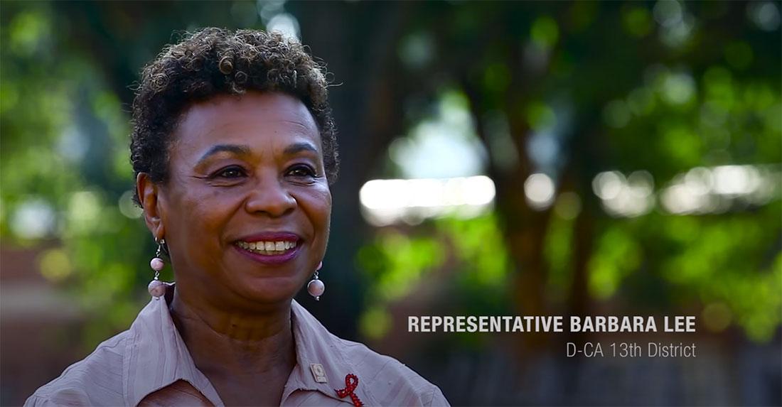 Rep. Barbara Lee smiles and walks into frame.