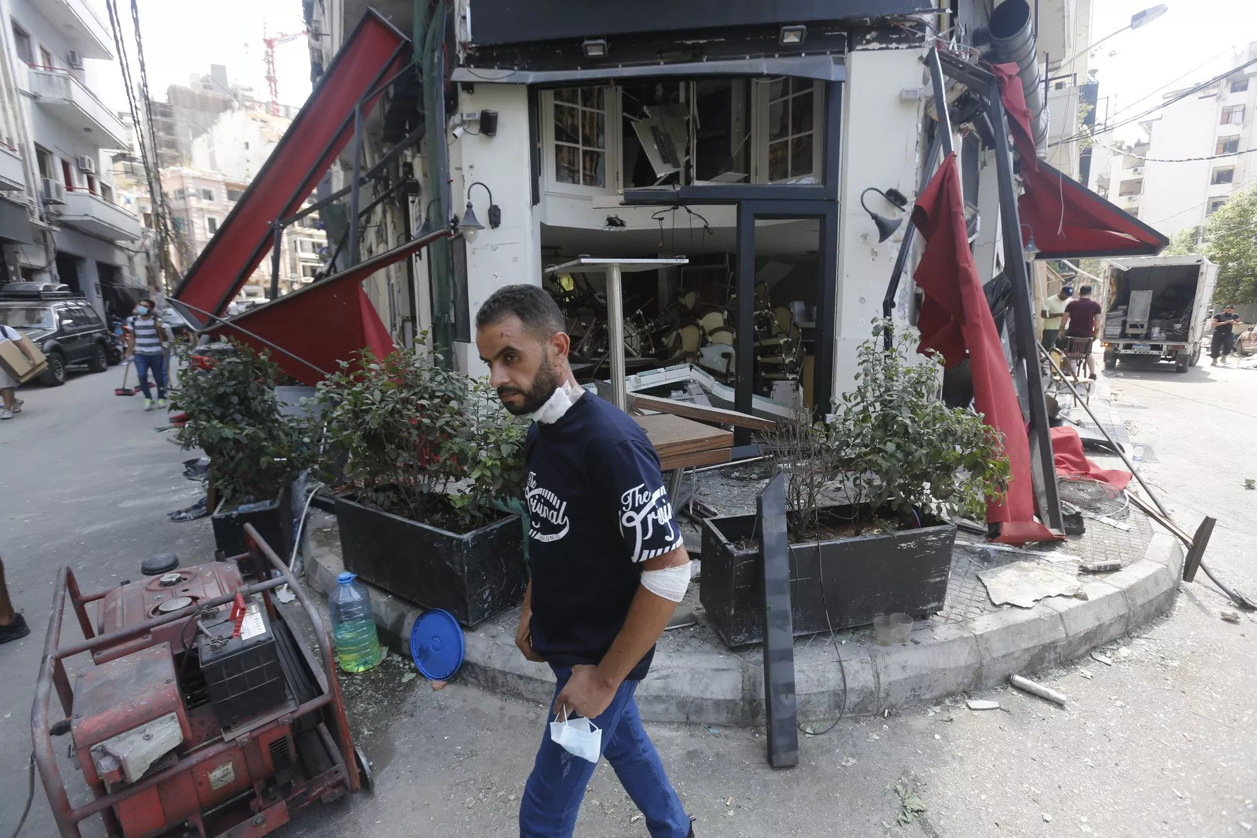 A man walks by a restaurant, heavily damaged by Tuesday's explosion, on August 6, 2020, in Beirut, Lebanon. Marwan Tahtah/Getty Images