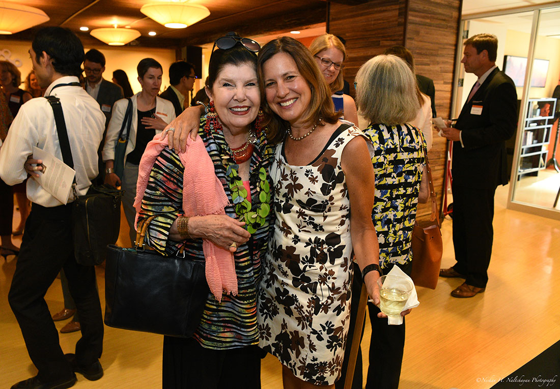 Beth Solomon poses with a woman attending the Global Leaders Network group.