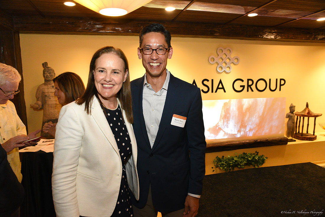 Former Under Secretary Michéle Flournoy stands with Rexon Ryu, partner of The Asia Group.