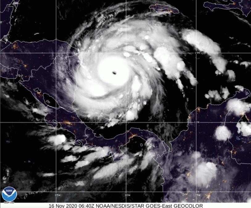 A satellite image of Hurricane Iota