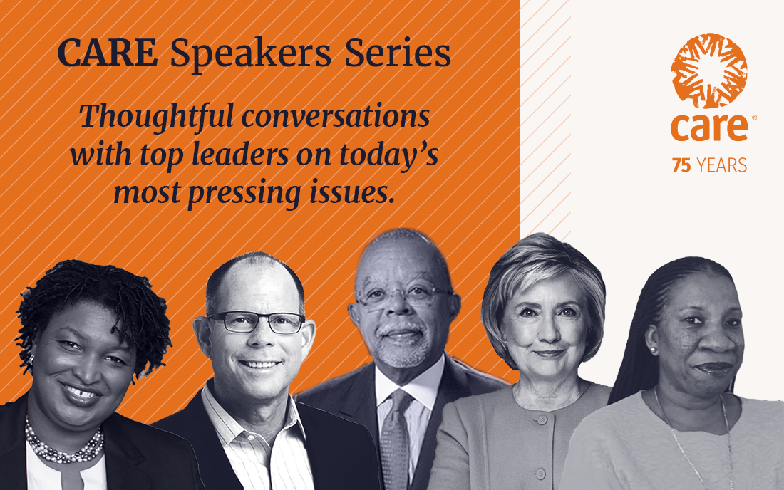 A graphic showing a selection of the speakers from the CARE Speakers Series. Overlaid text says,