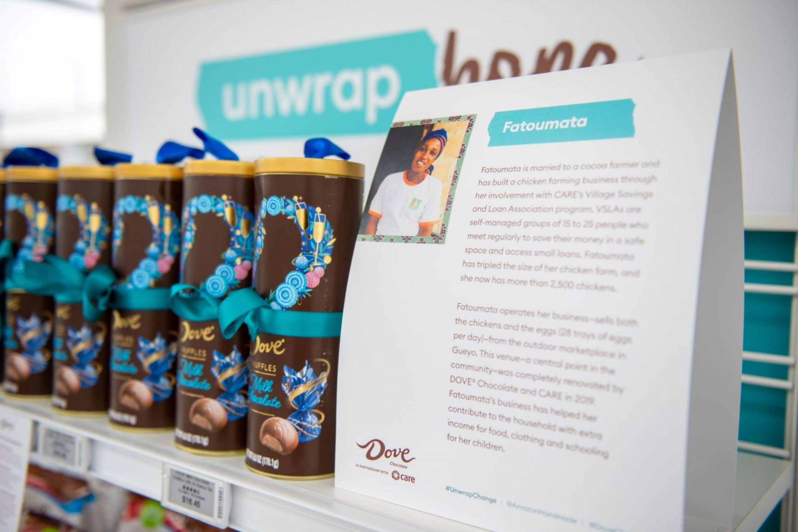 A product image of Dove Milk Chocolate Truffles next to a printed story of Fatoumata, a woman involved with CARE's Village Savings and Loan Associations program.