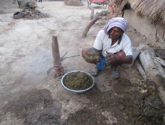 A man with a white shirt and clothing on his head is making cow dung patties.