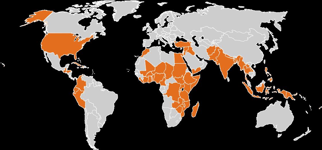 Une carte du monde montrant 69 pays où CARE répond au COVID, largement concentrée en Afrique et en Asie du Sud-Est.