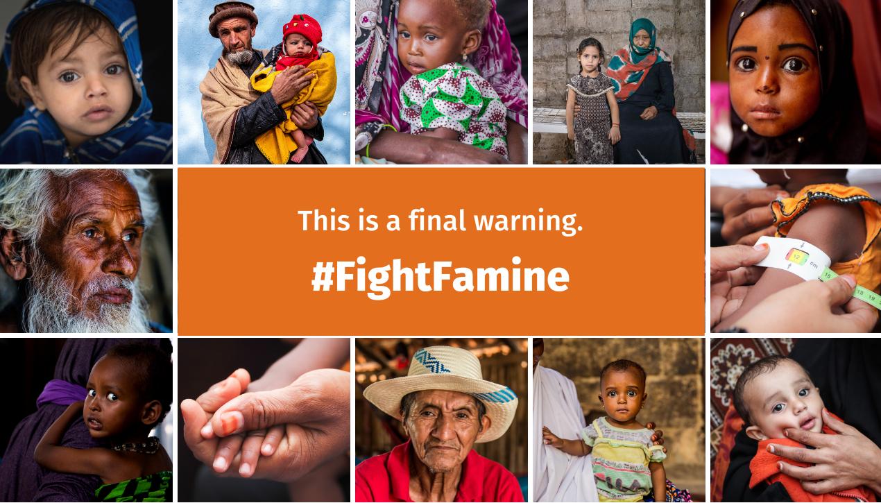 #FightFamine. Portraits of several people.