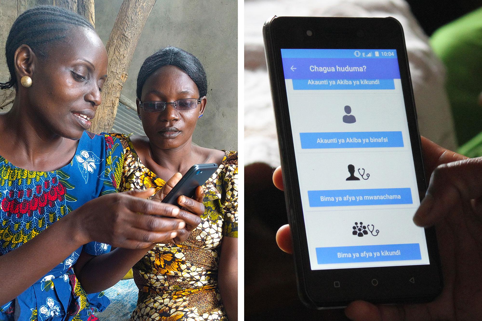 Duas mulheres olham para um telefone celular.