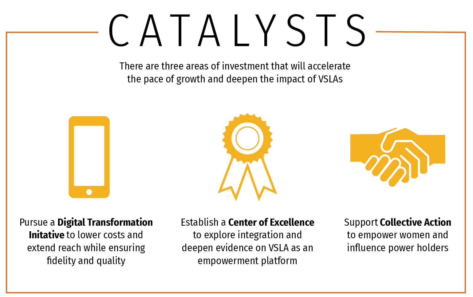 Infográfico: Existem 3 áreas de investimento que irão acelerar o ritmo de crescimento e aprofundar o impacto dos VSLAs.