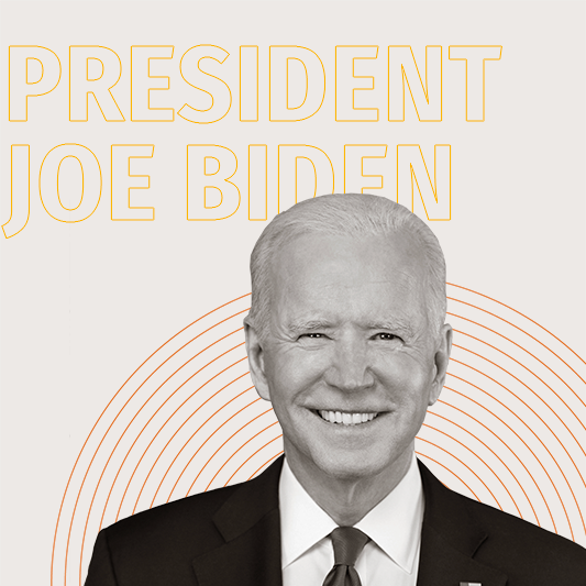 A black-and-white image of President Joe Biden over yellow outlined text that reads,