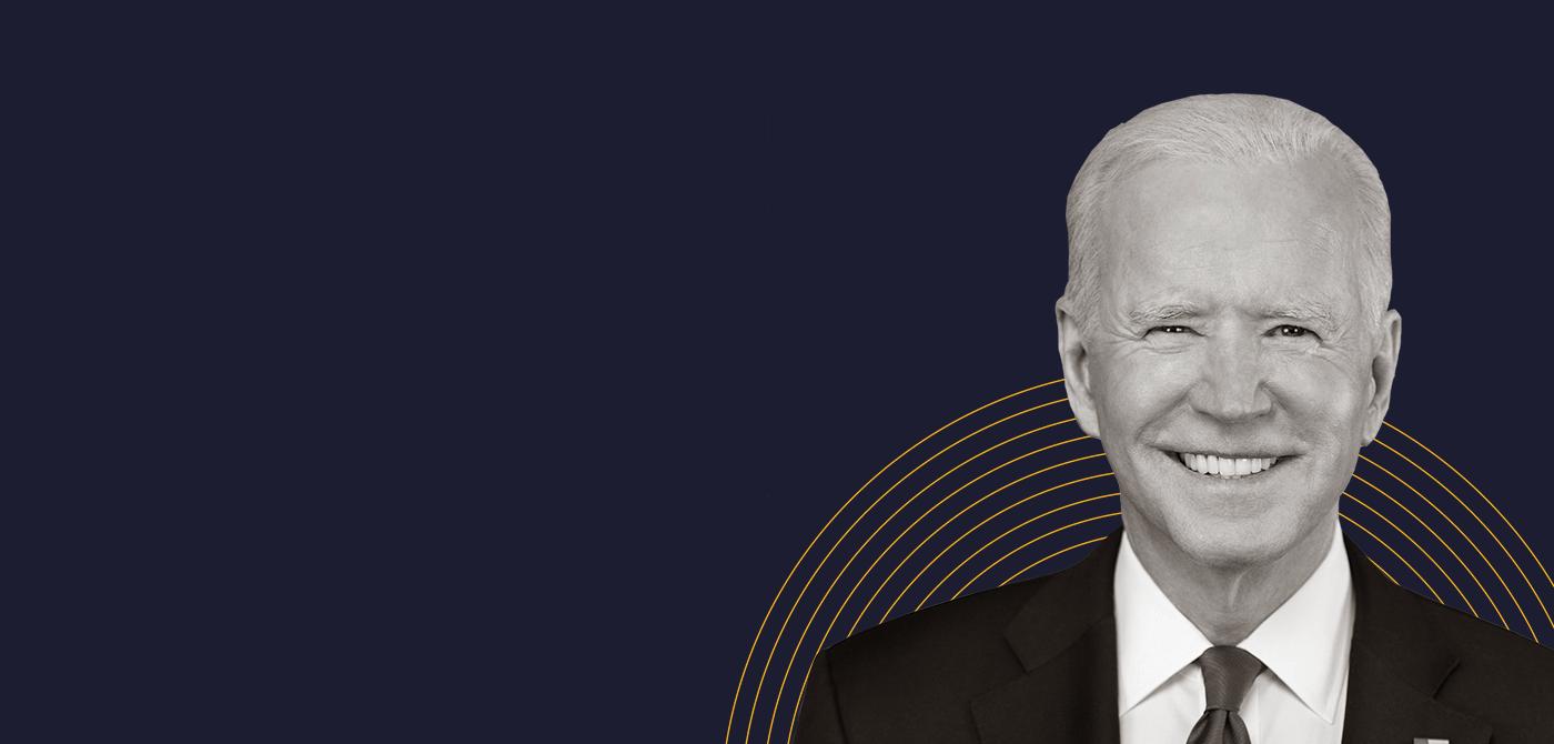 A black-and-white image of Joe Biden over a dark blue background.