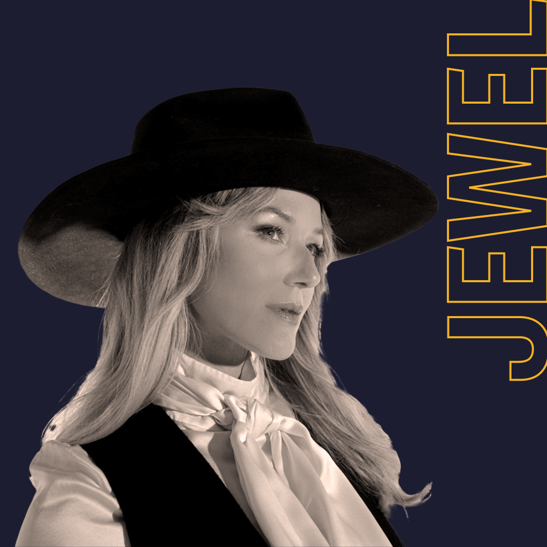 Una imagen de perfil lateral en blanco y negro de la cantante Jewel. Detrás de ella, un gran texto amarillo delineado dice: