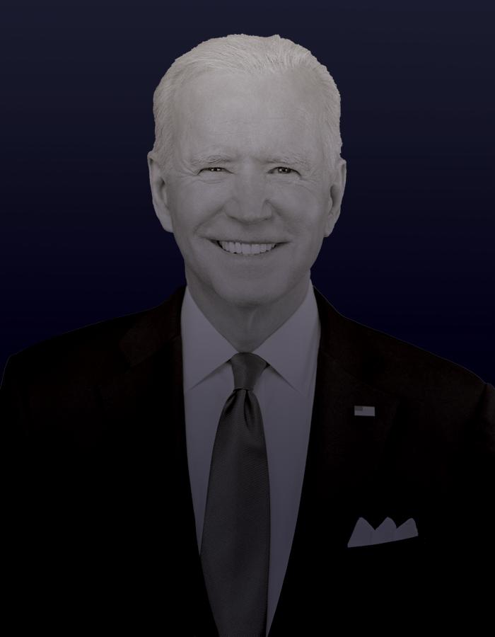 A black-and-white portrait of President Joe Biden against a dark blue background.