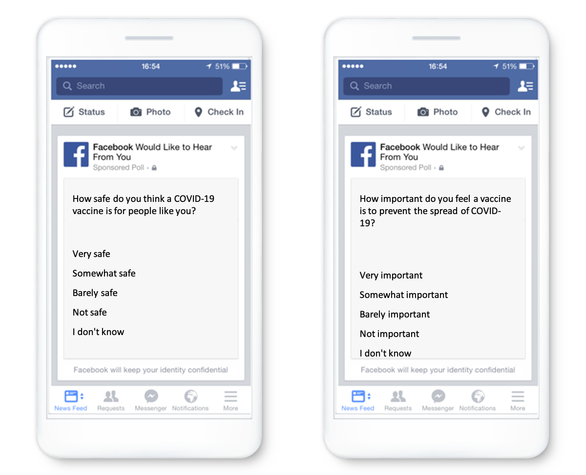 A mockup of Facebook survey questions on an iPhone.