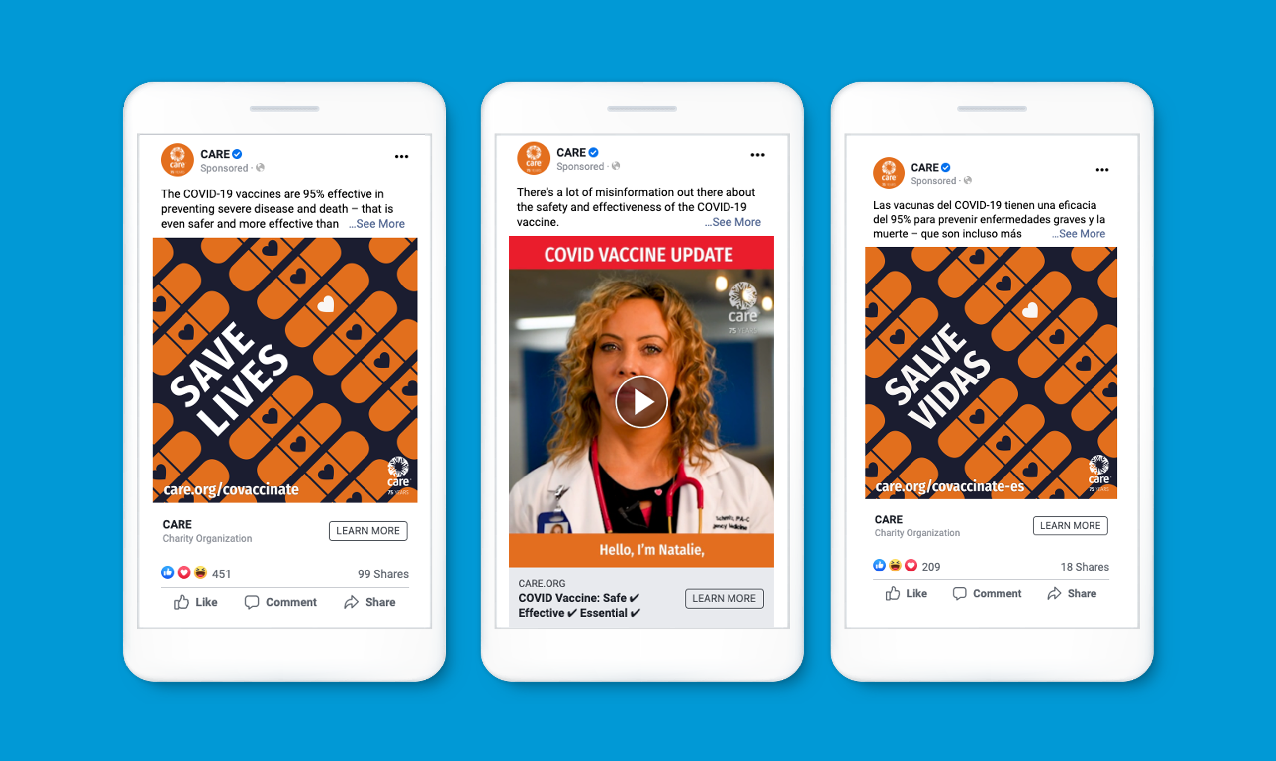 Three mockups of sample Facebook image and video posts on iPhones on a bright blue background.