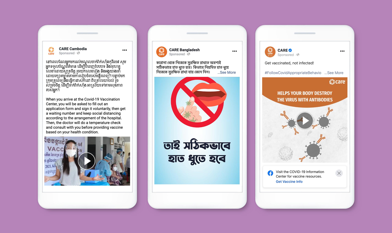 Três modelos de amostra de imagem do Facebook e postagens de vídeo em iPhones em um fundo roxo claro.