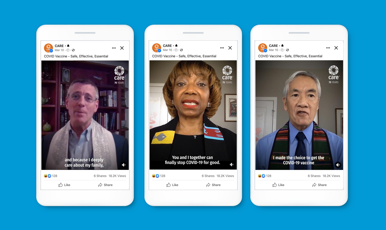 Trois maquettes de la publicité Facebook du leader multiconfessionnel sur iPhone sur fond bleu vif.