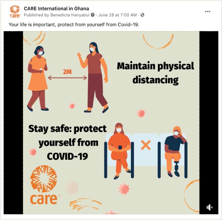 Gráfico de mídia social da CARE Gana incentivando as pessoas a ficarem protegidas do COVID-19, mantendo o distanciamento físico.